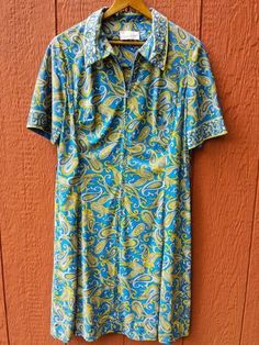 Vintage CASUALMAKER SY FRANKL Blue Paisley Print Short Sleeve Day House Dress ML #Casualmaker