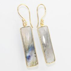 Summer Sale Gorgeous Rainbow Labradorite 24k Gold Plated Earring Jewelry D-267 #Handmade #DropDangle #CasualParty