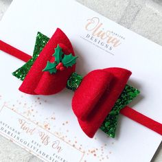 Red and Green Christmas Holly Bow