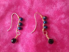 Glass and wire accented fishhook earrings by tonnibrill on Etsy, $15.00
