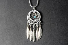 Dream Catcher Necklace made with an Antique Silver Hoop with tiny Dreamcatcher and 5 feathers, dreamcatcher jewelry, Native inspired, boho by OriginalsByCathy on Etsy Dream Catcher Jewelry, Silver Hoops, Turquoise Beads, Lead Free, Antique Silver, Boho, Chain, Diy Stuff, Antiques
