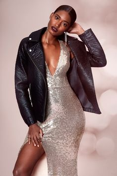 Melodie Monrose wears leather jacket and sequin dress from Forever 21