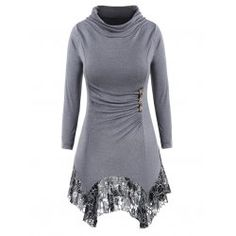 Plus Size Lace Panel Long Sleeves Tee with Buttons - Gray 2x Heaps Collar  Lace Tunic 635e46d7e