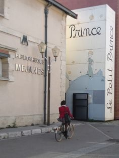 """Library wall painted like the book, """"the Little Prince."""""""