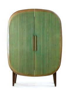 Armário retrô verde com forma arredonda