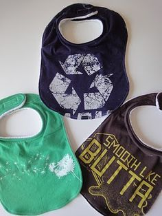 Upcycle t-shirts into bibs, with remainders from making t-shirt yarn @Megan Wilde I love this idea. YOu can get all kinds of t-shirts at yard sales so they would be on the cheap and you can market them as Eco-friendly! :-)