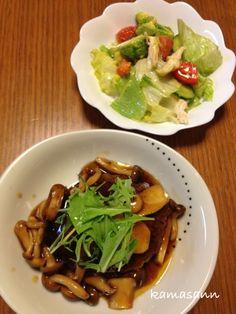 今日はこれだけ(`_´)ゞ(笑) - 72件のもぐもぐ - 和風きのこハンバーグとサラダ by kamasann