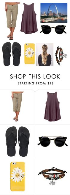 """""""Day 5 The Arch!"""" by thatcatholicbookworm ❤ liked on Polyvore featuring Kuhl, RVCA, Havaianas, Kate Spade, Bling Jewelry and Gabsinstl"""