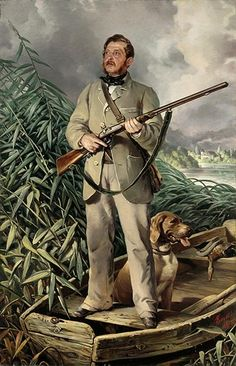 Portrait of Bildnis Friedrich von Boxberg, 1861 by Ferdinand von Rayski (1806-1890). Smart duck hunting attire & nice tonal painting. This German artist seemed almost to specialise in portraits of men out hunting with their guns.