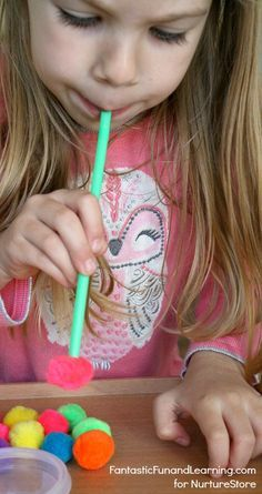 Straws and Pom Poms Math Counting Game for Preschoolers