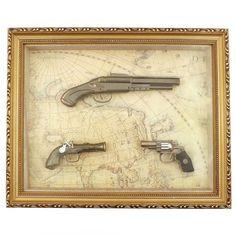 Quadro / Réplica de Armas / 3 (Três) Armas com Modelos Diferenciados - 43x35 cm | Carro de Mola.com.br - Porque decorar faz bem.
