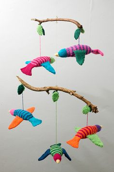 knitted fish mobile