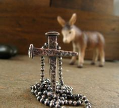 Mens Cross Necklace Silver Sterling silver Cross by organikx