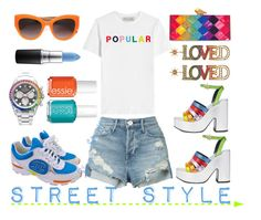 """""""Street Style - PRIDE"""" by adswil ❤ liked on Polyvore featuring Être Cécile, KOTUR, 3x1, MR by Man Repeller, Chanel, Rolex, Gucci, Dolce&Gabbana, MAC Cosmetics and Essie"""