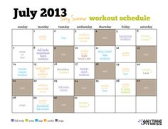 Bring sexy back this summer by using our pre-planned monthly workout calendar to keep yourself accountable.