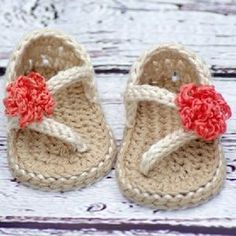 """Crocheted """" Strapy girl """" sandals"""