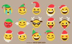Collection of Christmas emojis featuring Santa hats, elf hats, antlers, and more. Flat isolated illustrations for your Christmas designs!