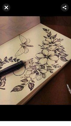 Paint Designs, Designs To Draw, Floral Thigh Tattoos, Shoulder Tattoos, Pretty Tattoos, Tattoo Models, Botanical Illustration, Ink Art, Arm Tattoo