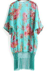 Green Floral Tassel Loose Chiffon Kimono -SheIn(Sheinside)