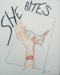 She bites.  - corey salinas  Mixed media micron pen prisma color pencils prisma graphite illustration of pet sins rabbit severed hand. art