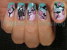 """A gradient made with Max Factor 27 Cool Jade and Deborah Milano 827 [...] All stamped with parts from Moyou Suki 01 and Konad SN black and SN white. And added dots in the flowers and eyes with a dotting tool and Konad SN white and Konad SN pastel pink."""