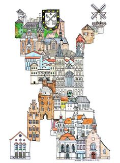 Xanten - Germany - ABC illustration series of European cities by Japanese illustrator Hugo Yoshikawa