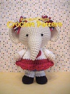 Crochet Patrón elefante, tutorial amigurumi peluche peluche elefante, descarga instantánea