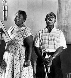Ella Fitzgerald and Louis Armstrong recording <em>Ella