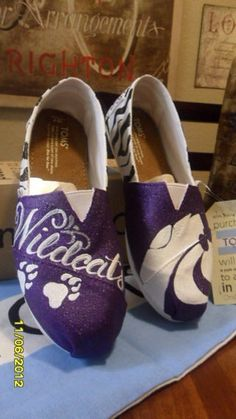 Custom Painted Kansas State Toms Shoes by FrancesBowtique on Etsy If these were red and blue, for UofA, Id be ALL over them!