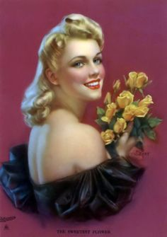 """Zoe Mozert - """"The Sweetest Flower - Vintage Artwork, Pin Up Art, Woman Painting, Yellow Roses, Woman Face, Vintage Postcards, Pin Up Girls, Art Images, Creative Art"""