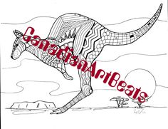 Downloadable Printable Kangaroo Art Zentangle inspired Coloring Page by CanadianArtBeats on Etsy