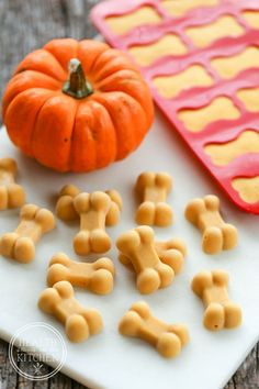 Healthy Dog Treats Frosty Pumpkin Dog Treats {helps eliminate fall allergies} - Frosty Pumpkin Dog Treats {for fall itchy skin} Puppy Treats, Diy Dog Treats, Homemade Dog Treats, Healthy Dog Treats, Dog Biscuit Recipes, Dog Treat Recipes, Dog Food Recipes, Cookie Recipes, Fall Allergies