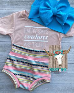 Daddys Little Cowgirl Country Southern Belle Rodeo Queen Infant Baby Romper