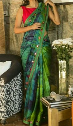 Buy readymade blouse online shopping india has got variety of blouse designs, designer blouses, ready to wear saree blouses. Indian Dresses, Indian Outfits, Collection Eid, Satin Saree, Simple Sarees, Saree Models, Stylish Sarees, Casual Saree, Elegant Saree