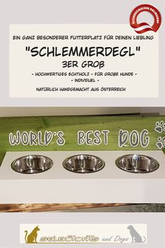 """Schlemmer-Degl"" aus Holz - Selectcats and Dogs Petshop Pet Shop, Dog Bowls, Dog, Cats, Pet Dogs, Pets, Cleaning, Wood, Pet Store"