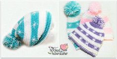 Slouchy crochet hats - free pattern. The blue one reminds me of Frozen :)