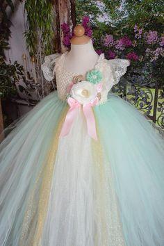 Vintage Mint estilo 2 flor tutu Vestido de por TutuSweetBoutiqueINC