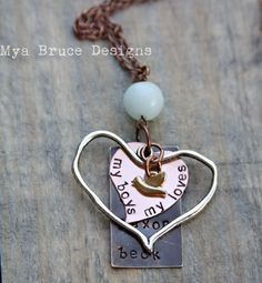 Mixed metal, personalized names or text with silver and copper hearts, mini gold bird, hangs from large amazonite stone. $39.00, via Etsy.