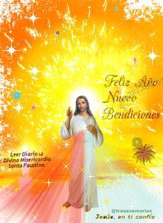 Feliz año nuevo con Jesus Jesus Christ, Catholic, Tulle, Christmas, Google, Happy Photography, Merry Christmas, Happy New Year Greetings, Jesus Painting