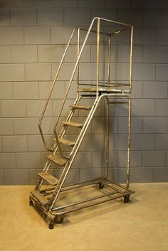 Best of the Past- Industrial Vintage original industrial solid stairs from an old factory in the North of France. Unique piece we found & salvaged that will give your loft, restaurant or shop a great industrial chic look! (dimensions: 131 cm  x 79 cm x 252 cm)