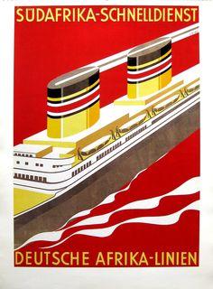 Südafrika Schnelldienst - Deutsche Afrika Linien (DAL), Designer: Loibl. Printer: Mühlmeister & Johler. (Wolfsonian FIU)