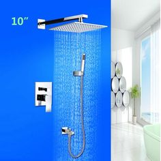 """79.80$  Buy now - http://alirsn.worldwells.pw/go.php?t=32700221556 - """"Wall Mounted 10"""""""" Stainless Steel Polish Chrome Bathtub Shower Faucet Mixet Tap """" 79.80$"""