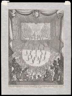 Print accompanied by the caption 'Primo Intermedio della veglia della liberatione di tirreno fatta nella sala delle comdie del Ser.mo Duca di Toscana il carnovale del 1616 dove si rap:va, il monte d'Ischia con il gigante tifeo sotto'; or 'First Act of Veglia della Liberazione di Tirreno represented in the comedy hall of the serene Duke of Tuscany during the carnival of 1616, representing the mount of Ischia with the Giant Tifeo underneath'. Etched by Jacques Callot.  V&A, London