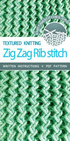 Zig Zag Rib stitch makes a nice texture and the yarn is soft. Fun and easy! Rib Stitch Knitting, Knitting Stiches, Knitting Blogs, Easy Knitting, Knitting For Beginners, Loom Knitting, Knitting Designs, Knit Stitches, Knitting Basics