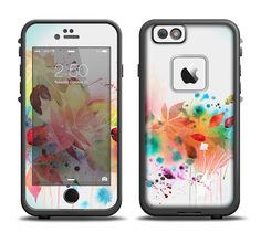 The Neon Colored Watercolor Branch Apple iPhone 6/6s Plus LifeProof Fre Case Skin Set from DesignSkinz