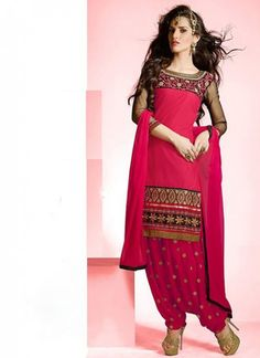 Gorgeous #Red #Embroidered #SalwarSuit With Unique Border Work