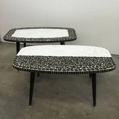 A personal favorite from my Etsy shop https://www.etsy.com/listing/292804245/mid-century-pebble-tile-top-side-tables