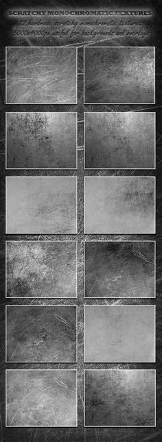 Scratchy Monochromatic Textures #GraphicRiver This package contains 12 monochromatic, unique, scratchy textures. All textures in package are saved as JPG files with maximum quality. Texture sizes are 3500×2800px and resolution is 300ppi. This set of textures is useful for backgrounds and for overlays. Created: 22October13 GraphicsFilesIncluded: JPGImage Layered: No MinimumAdobeCSVersion: CS PixelDimensions: 3500x2800 PrintDimensions: 12x9 Tileable: No Tags: background #design #graphic…