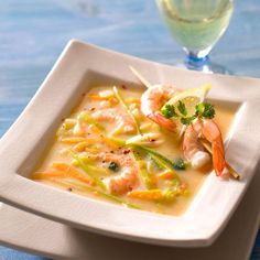 Soupe de crevettes au citron