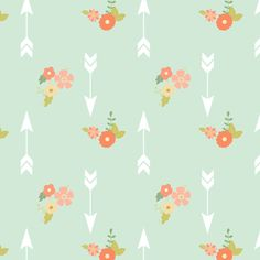 So cute the mix of flowers and arrows! Great colors too! for kids room  Arrows and flowers fabric by >>mintpeony<< on Spoonflower - custom fabric